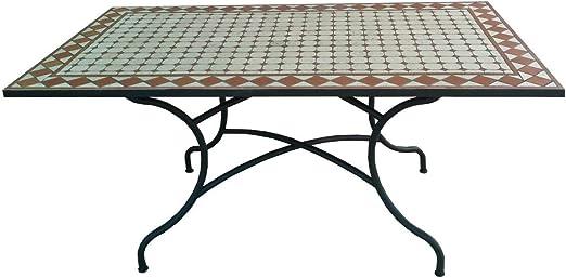 Mesa rectangular 160 x 90 x 75 cm (mosaico Estructura de hierro negro: Amazon.es: Jardín