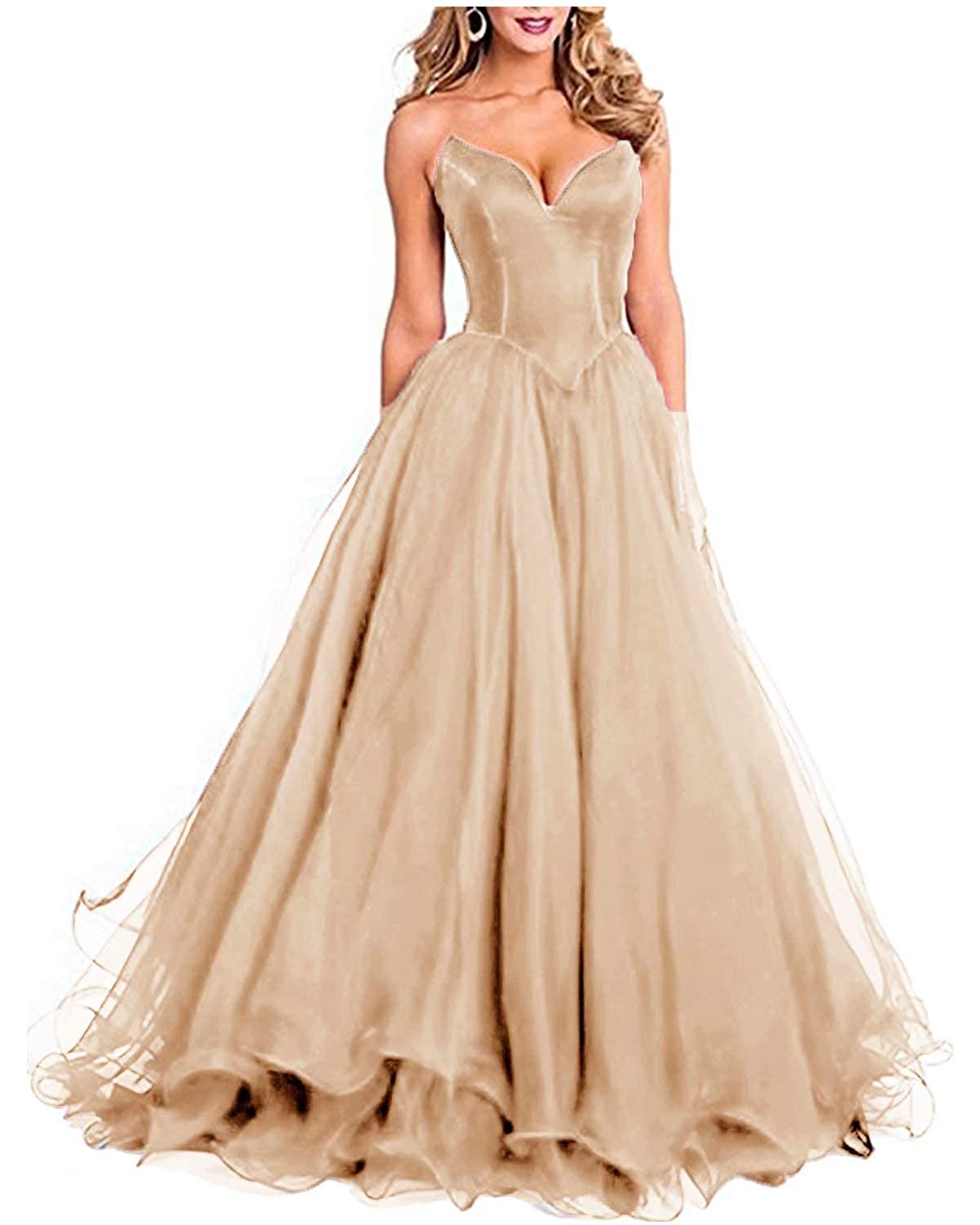 Champagne Fankeshi Womens Sexy Sweetheart Long Prom Party Dresses A line Tulle Formal Evening Gowns