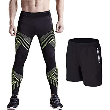 8baa5e18d5 Image Unavailable. Image not available for. Color: LNRVD 2PC Men Sports  Running Tights Leggings Gym Clothing ...