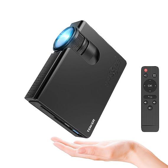 Beamer, Tenker Q5 Mini Beamer 2200 Lumen Full HD 1080P Video LCD Mini HD Projektor, Unterstützung HDMI VGA Decke / Stativ Ins