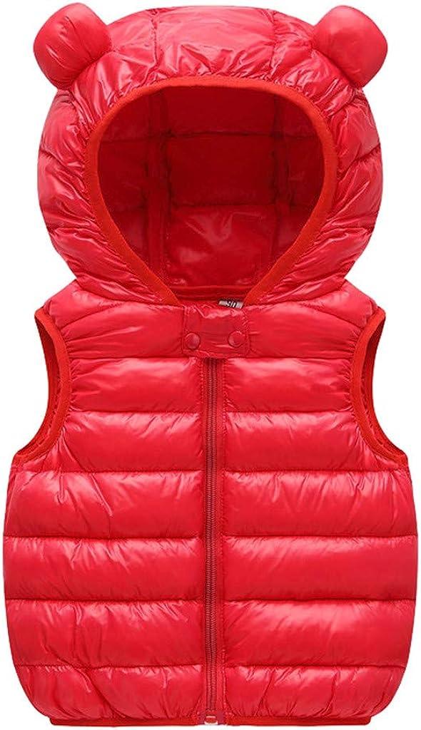 Bear Ear Sleeveless Solid Windproof Down Coat Zipper Hooded Lightweight Waistcoat WOCACHI Baby Toddler Puffer Vest