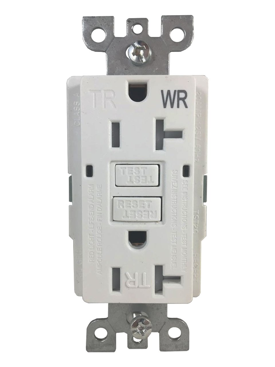 BYBON 20 AMP (10 PACK) Duplex Self-Test Tamper Resistant & Weather Resistant (TR/WR) GFCI Receptacle Outlet,Two LED Light Indicator,Wallplate and screws included,White,UL 2015 (10 PACK) by BYBON (Image #2)