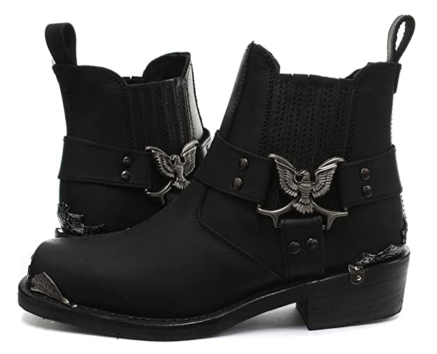 Grinders 2014 Eagle Lo Black Mens Cowboy Biker Boots: Amazon.co.uk: Shoes &  Bags
