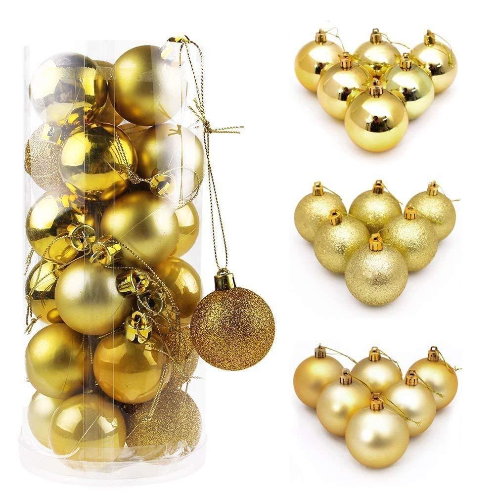 Winzwon Christmas Gifts Palle di Natale, 24 Pezzi 3cm Mini Palline di Natale Ornament Balls per Natale Xmas Trees parti di Nozze DIY Decorazioni Dell'albero oro
