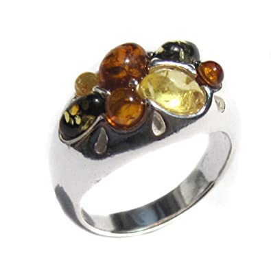 Multicolor Amber Sterling Silver Designer Ring 4A7d3DcHW