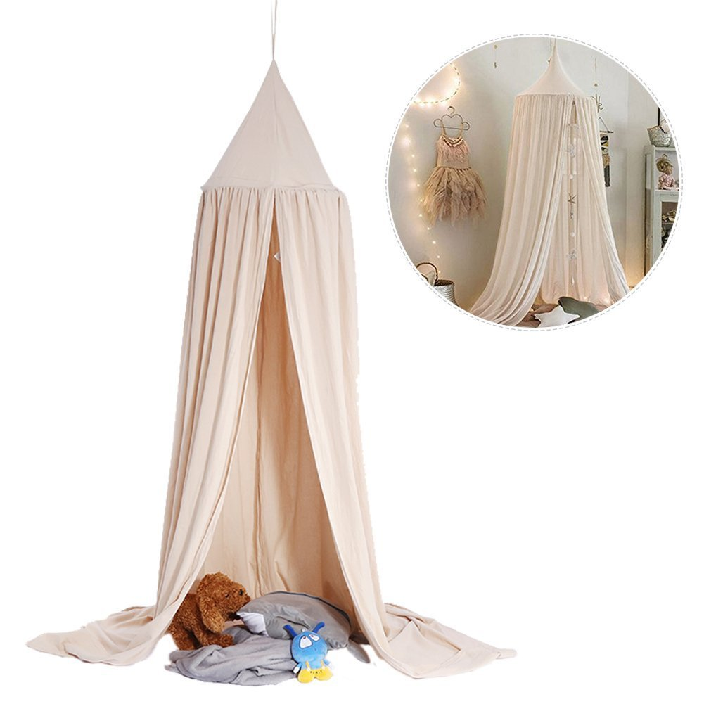 Mosquito Net Canopy, Dome Princess Bed Cotton Cloth Tents Childrens Room Decorate for Baby Kids Reading Play indoor games house (Khaki) ZJchao