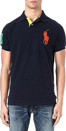 Polo Ralph Lauren Mens Custom Fit Big Pony Mesh Polo Shirt - M - Navy (