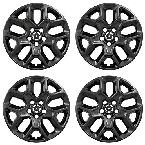 MARROW New Wheel Skins Covers Fits 2015-2018 Jeep Renegade, 17 Inch; 10 Vent; Black; ABS Plastic; Set Of 4; Not Compatible With Steel Wheels (Jeep Renegade New)