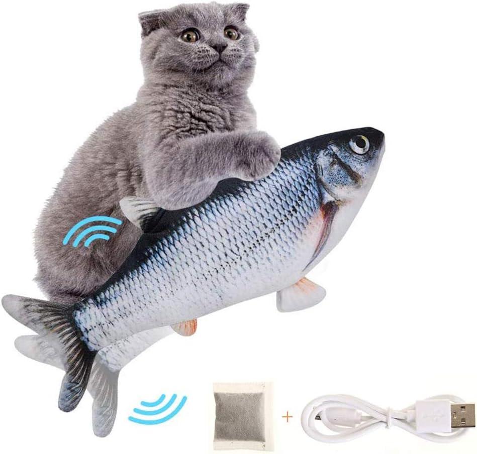 SEGMINISMART Electrico Juguete Gato, Eléctrica Juguete Pez para Gato, Simulación de Peces de Peluche Juguetes, Mascotas Interactivo de Felpa Pez para morder, Masticar, patear y Dormir