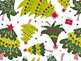 Pack Of 1, Jolly Christmas Trees 24'' X 417' Roll Christmas Premium Gift Wrap Papers For 175 -200 Gifts Made In USA