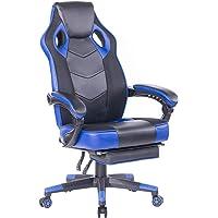 Wolmic Racing Stil Gaming-Stuhl mit Fußstütze E-Sports Höhe Rücken Ergonomischer Computer Schreibtisch Leder Bürostuhl mit Verstellbarer und gepolsterter Kopfstütze