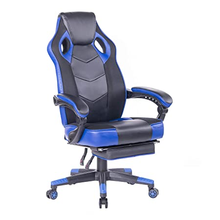 HEALGEN Gaming Chair with Footrest Racing Computer PC Chair Ergonomic High Back Swivel Executive Office Chair Mesh Leather Reclining Desk Chair RC906 Blue
