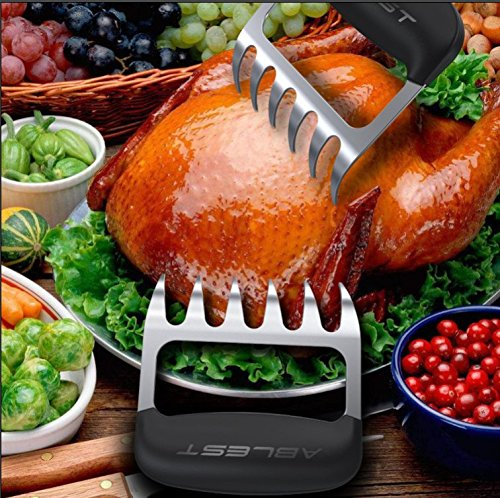 Ablest 2 Pcs BBQ Pulled Pork Stainless Steel Barbecue Shredder Bear Claws Meat Handler Carving Forks