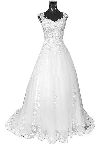 VILAVI Women's Ball Gown V-neck Long Tulle Lace Crystal Wedding Dresses