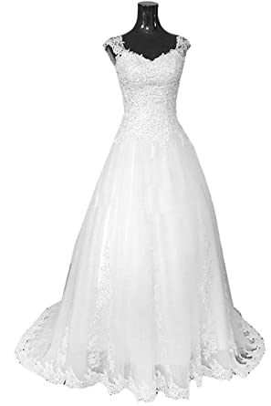 vilavi womens ball gown v neck long tulle lace crystal wedding dresses 2 white