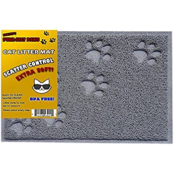 BPA Free Premium Cat Litter Mat - Food Mat - Small- Medium- Best Quality Cat Litter Mat Catcher Trapper with Scatter Control - Waterproof Litter Mat-Odor Repelling- Soft on Cats Paws