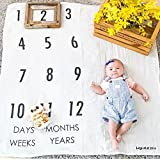 Baby Growth Milestone Blanket Photography Background Prop Photo Shoots Backdrop for Newborn Growing Infants Toddlers Baby Shower Gift - Numbers