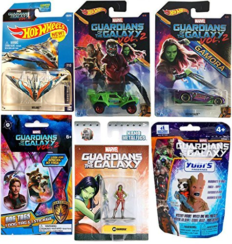 Star Lord Costume Walmart (Marvel Guardians of the Galaxy Vol. 2 Hot Wheels Cars Movie Exclusive + Gamora Metal Mini Figure & Ship Milano #149 & Dog tag necklace + Finger Puppet Blind Bag Mystery)