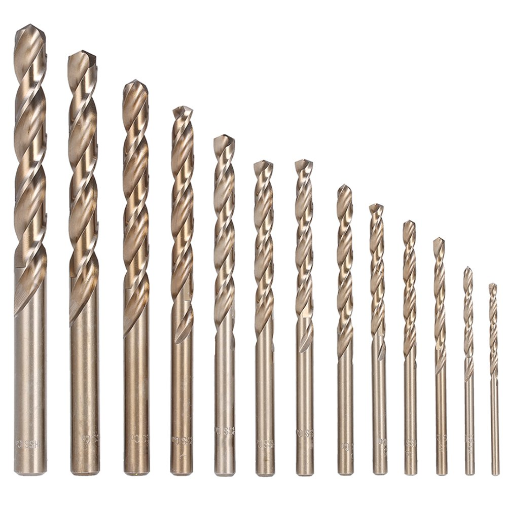 Migiwata Metric M35 Cobalt Steel Extremely Heat Resistant Twist Drill Bits with Straight Shank Set of 13pcs to Cut Through Hard Metals Such as Stainless Steel and Cast Iron