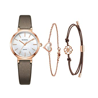 eab6b4e9a Amazon.com: MAMONA Ladies Watch Bracelet Gift Set Leather Band Rose Gold Stainless  Steel Watch for Women L3876RGGTS: Watches