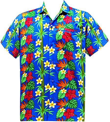La Leela* Aloha Coupe Décontractée Hommes Manches Courtes Hawaïens Hibiscus Bleu Chemise Hawaïenne Ble