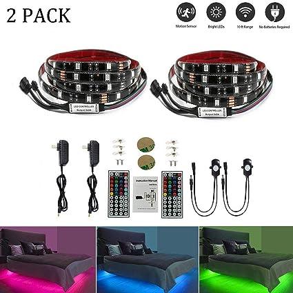 Amazon.com: LEHOU Under Bed Light Motion Activated Illumination RGB ...