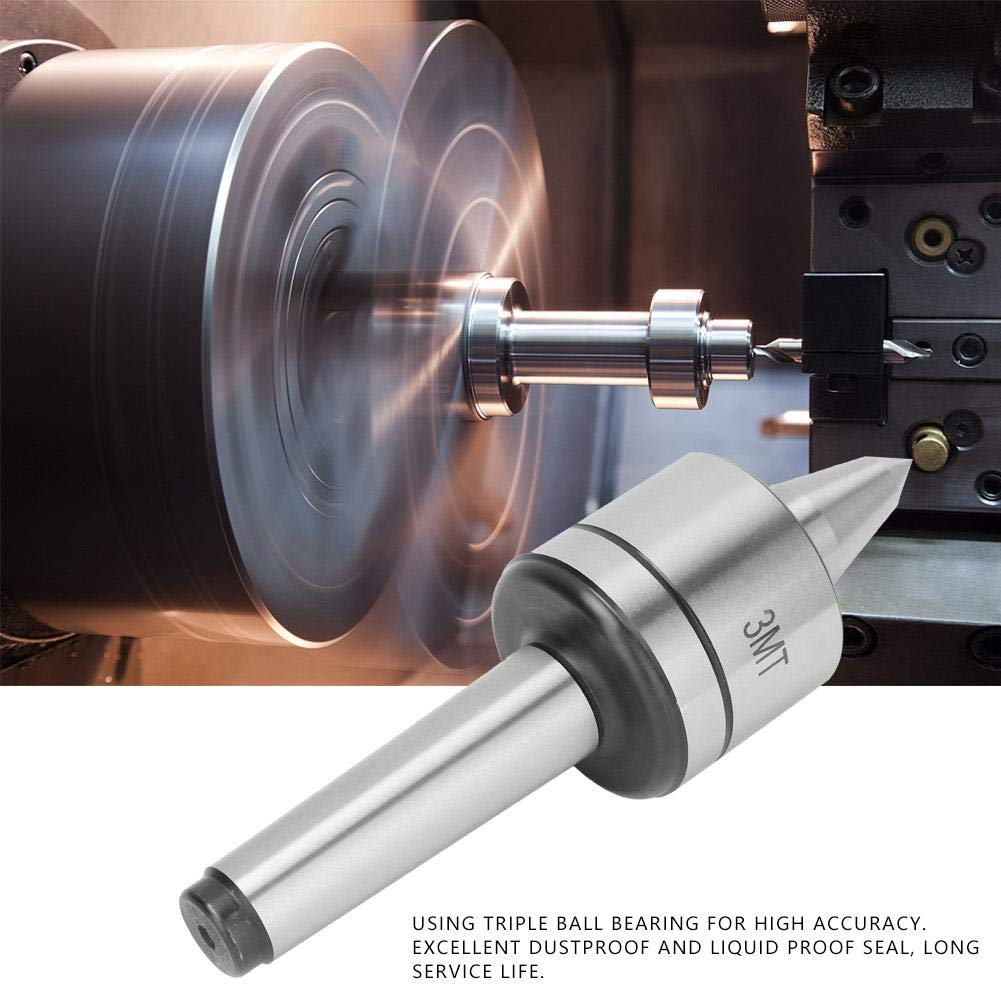 Triple Bearing Live Center MT3 Live Center High Adaptability Alloy Steel Rc 60-62 for Metal Lathe Turning