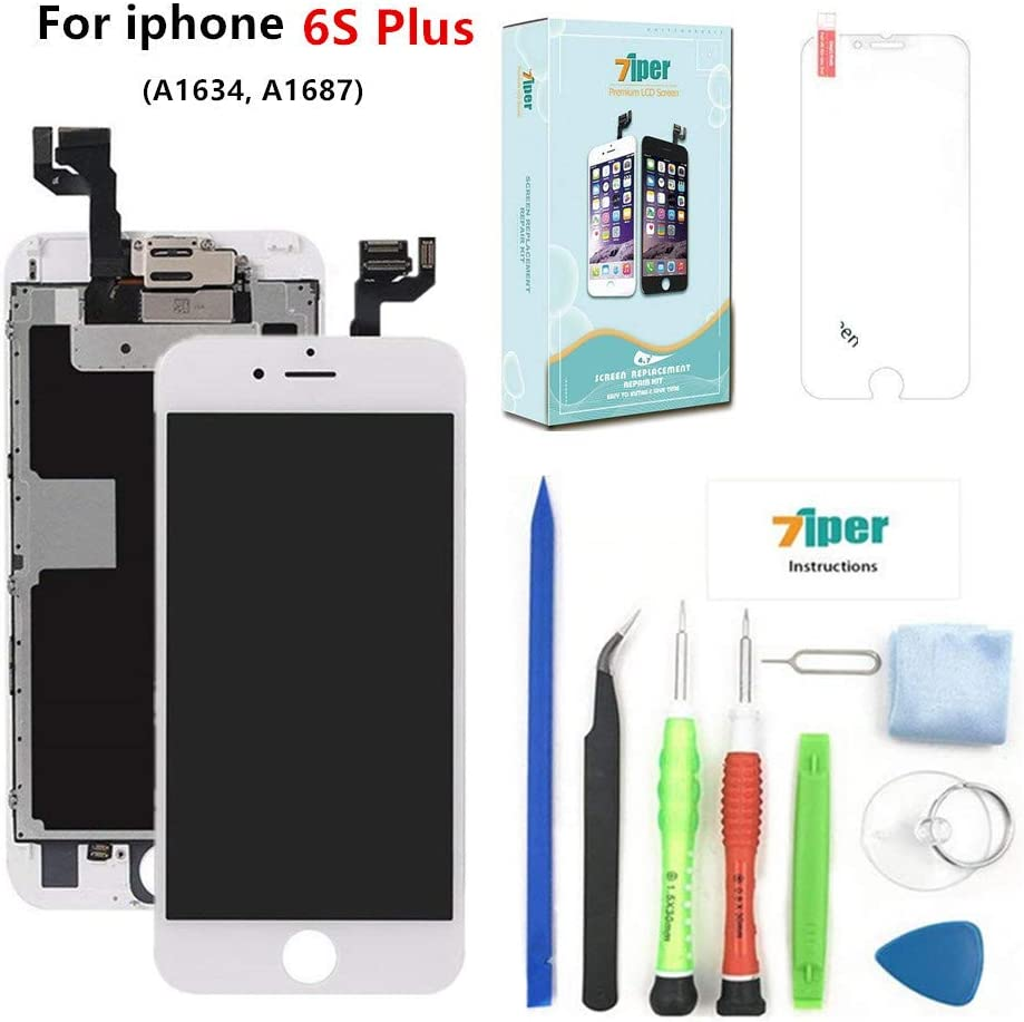 Screen Replacement for iPhone 6S Plus (5.5 inch) - LCD Display Touch Digitizer Assembly Set with Proximity Sensor, Front Camera, Earpiece, Tempered Glass, Repair Tools and Instruction (White)