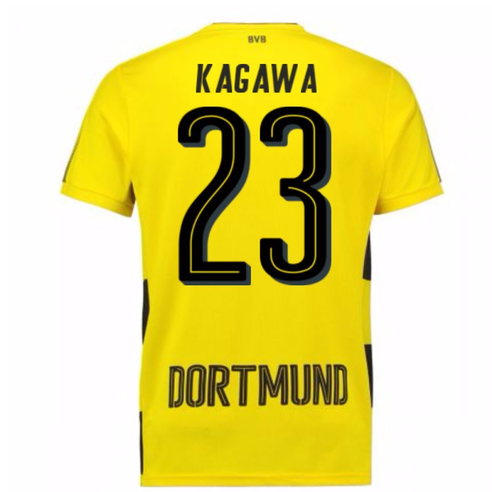 2017-18 Borussia Dortmund Home Short Sleeve Football Soccer T-Shirt Trikot (Shinji Kagawa 23)