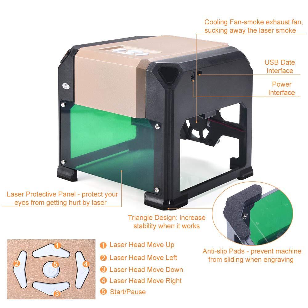 Suteck Laser Engraving Machine 3000MW Mini Laser Engraver Printer Working Area 7.5X7.5CM USB DIY Carving Wood Logo Desktop Laser Engraver by Suteck (Image #3)