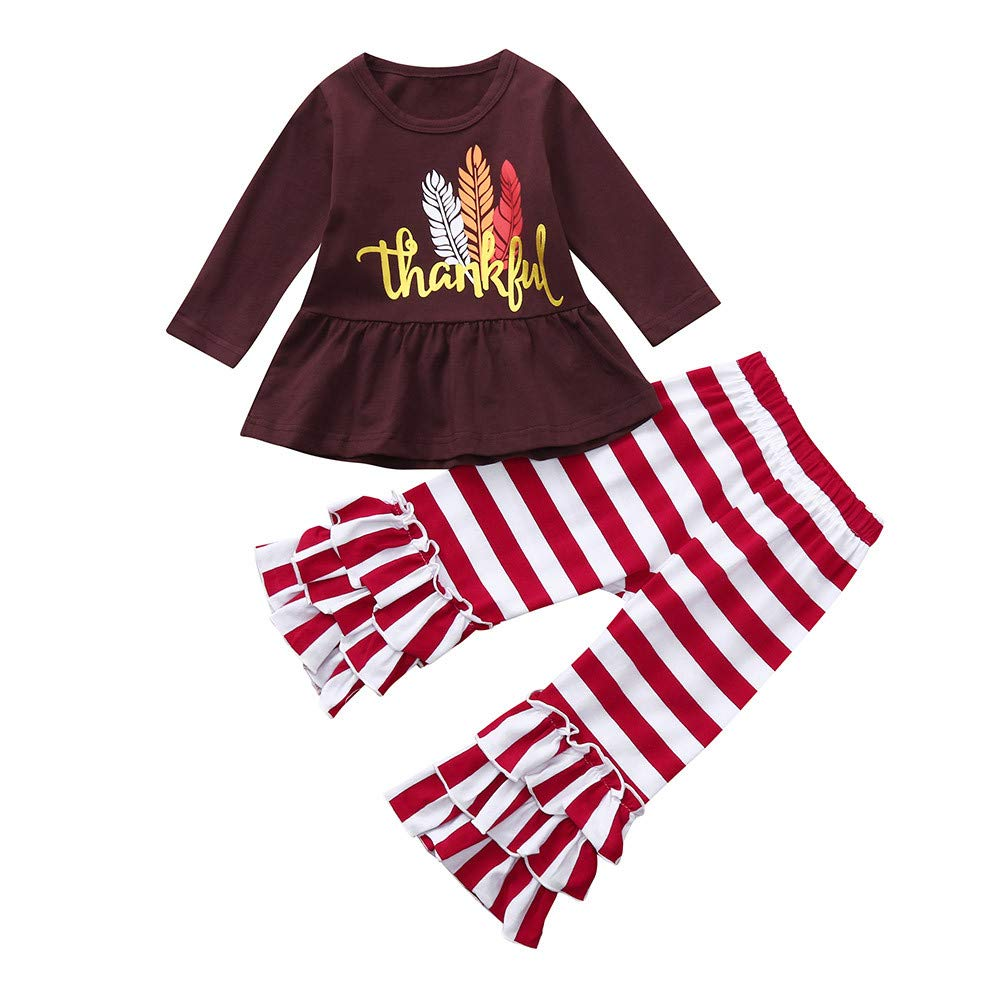 Infant Toddler Baby Girls Letter Print Thanksgiving Day Tops Bell Striped Pants Outfits Set (12-18 Months, Brown) Fdsd