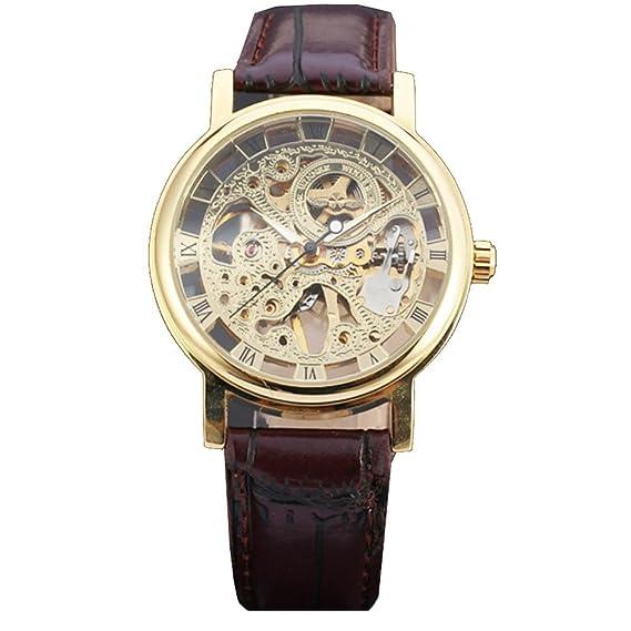7fd9f7c31017 Reloj de pulsera de oro de la humanidad por la UNESCO vestido esqueleto  mecánico de Steampunk