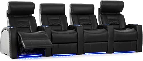 Octane Seating Flex HR Home Theater Seats – Black Top Grain Leather – Power Recline – Row of 4
