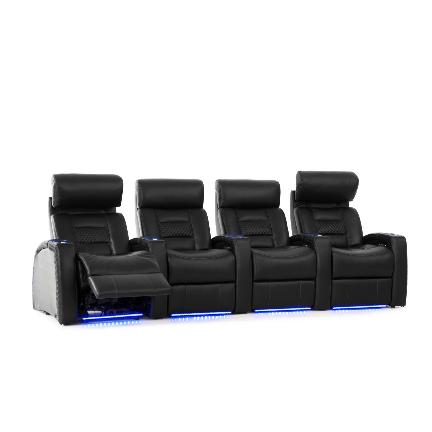 Octane Seating Flex HR Home Theater Seats - Black Top Grain Leather - Power Recline - Row of 4 by Octane Seating