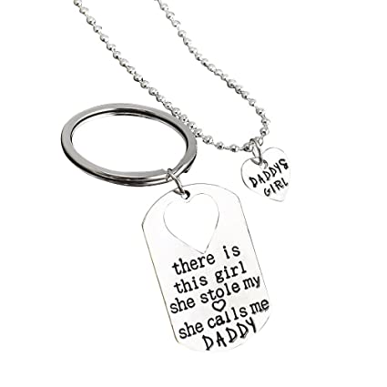 EBTOYS Gifts For Dad Necklace Father Daughter Keychain Daddys Girl Birthday Set