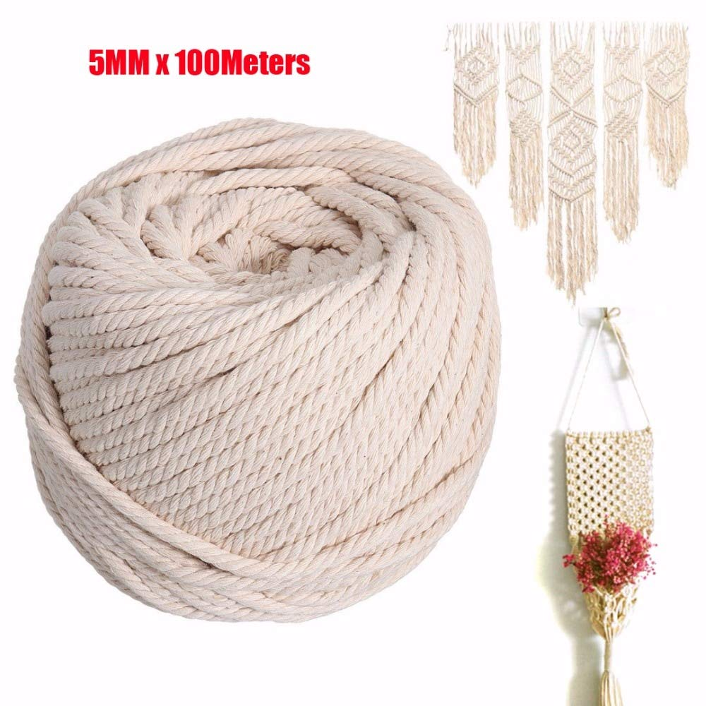 FINCOS 5MM Natural Beige Cotton Macrame Wall Hanging Plant Hanger Craft Making Knitting Cord Rope 100Meters