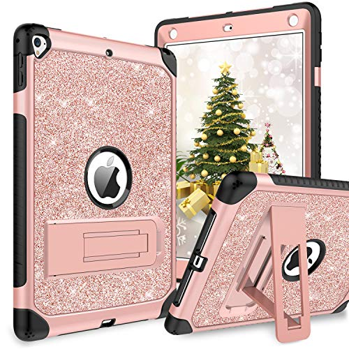 (BENTOBEN Case for iPad 9.7 2017/2018/Pro 9.7/Air 2, Glitter 3 Layer Full Body Protective Kickstand Durable Leather Shockproof Girls Women Kids Tablet Cover for Apple iPad 9.7/Pro 9.7/Air 2, Rose Gold)