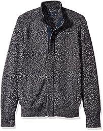 Nautica Men\'s Concealed Zip Sweater, True Navy, S
