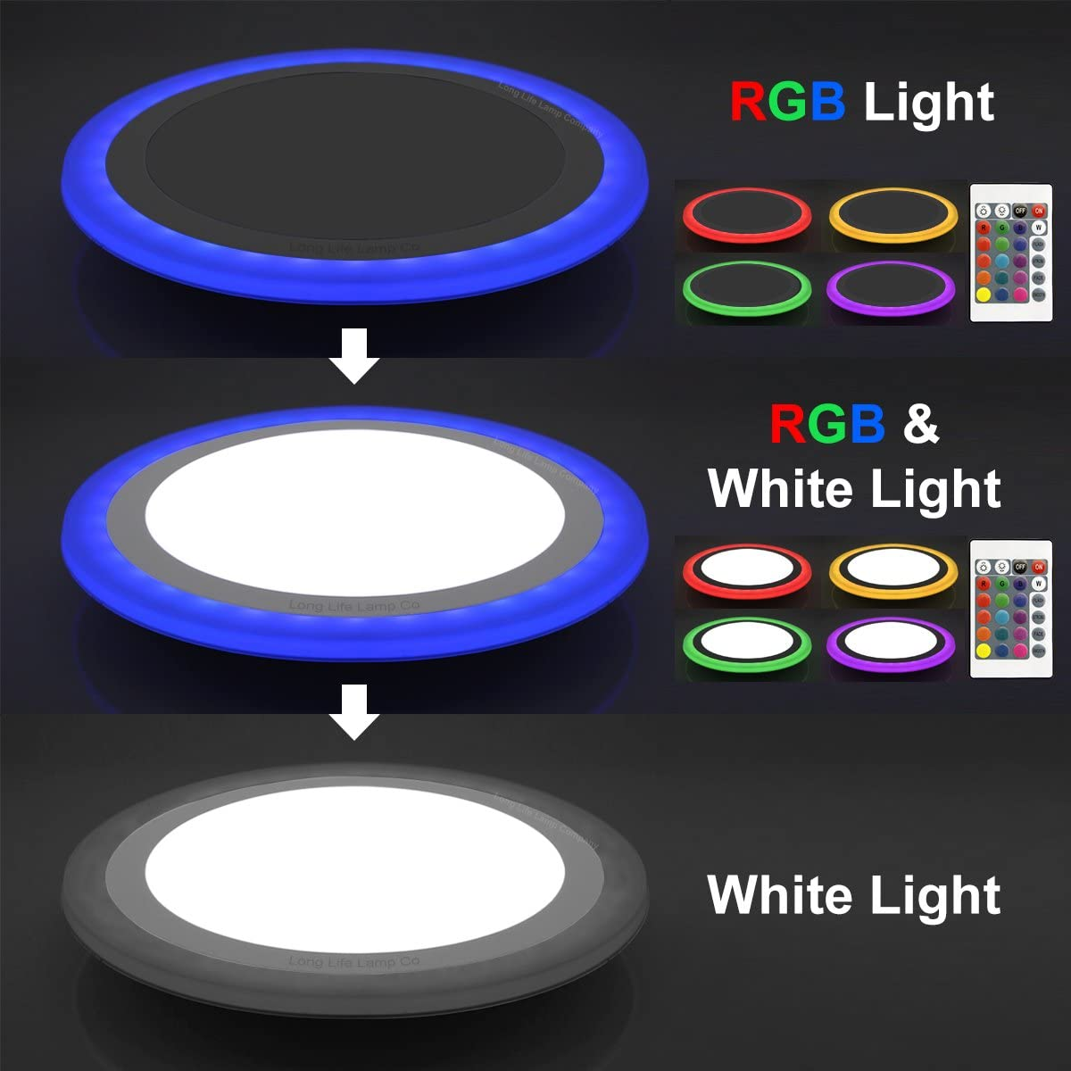 18w Round Led Ceiling Mood Light Panel Cool White With 6w Rgb Colour Changing Ambient Ring Remote Controlled Amazon Co Uk Lighting