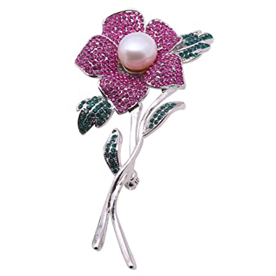 943e3bda915 JYX Pearl Rose Brooch Natural 10.0mm Freshwater White Pearl Brooch Pin for  Women: Amazon.co.uk: Jewellery