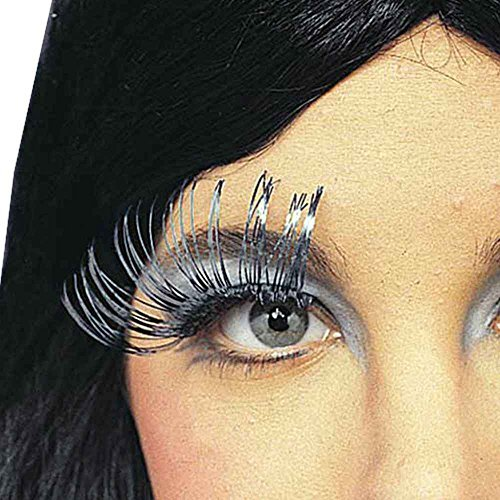 Long Metallic Silver False Eyelashes]()