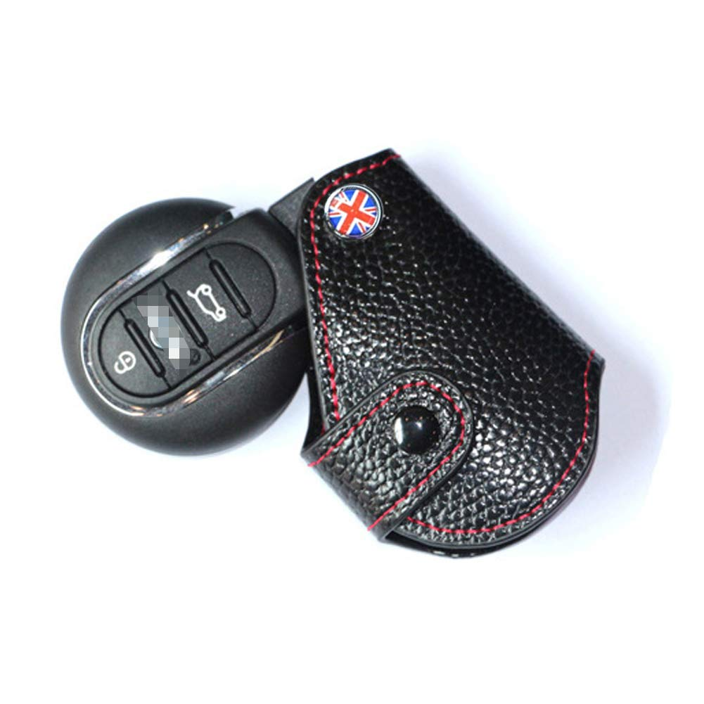 White//Black Checkered Style Miniclue Red Stitch Real Leather Remote Key Fob Bag Cover Case Holder for 2008-up Mini Cooper R55 R56 R57 R58 R59 R60 R61 F54 F55 F56 F60