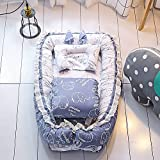 Ukeler 100% Cotton Reversible Portable Cribs for Bedroom/Travel- Breathable & Hypoallergenic Co-Sleeping Baby Travel Bed with Baby Quilt, Suitable for 0-24 Month