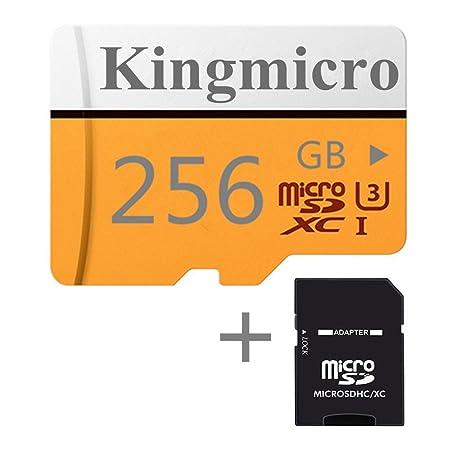 Kingmicro - Tarjeta Micro SD de Alta Velocidad (Clase 10, con Adaptador SD Estándar) Rosso 256 GB