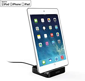 iPhone Charging Dock, Apple MFi Certified Desktop Charger Cradle, Charging & Data Sync Stand Holder for iPhone, iPad. (Black)