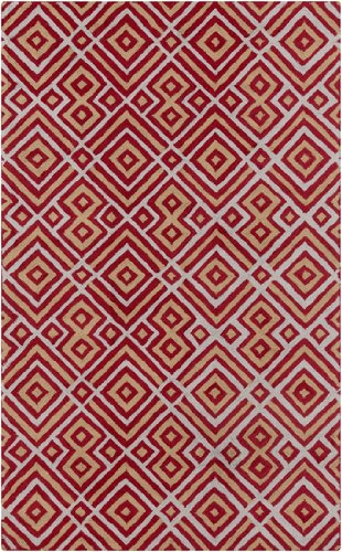 5' x 8' Meso Mayan Classic Gold and Rose Red Hand Hooked Area Throw Rug