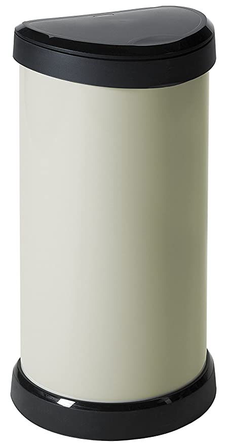Curver Touch 176461- Cubo de basura, mecanismo de apertura con toque, 40 L, color marfil