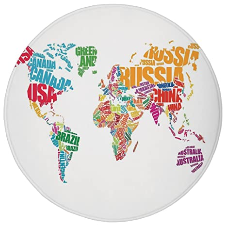 Amazon round rug mat carpetwanderlust decorworld map made by round rug mat carpetwanderlust decorworld map made by names continents europe america gumiabroncs Image collections