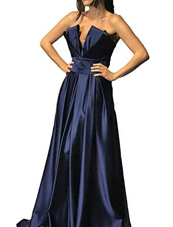Dymaisei Womens Strapless Evening Dresses Long 2018 Ruched Formal