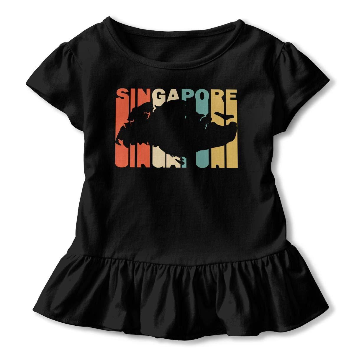 2-6T Short Sleeve Retro Style Singapore Silhouette T-Shirts for Girls Cute Sweatshirt with Falbala